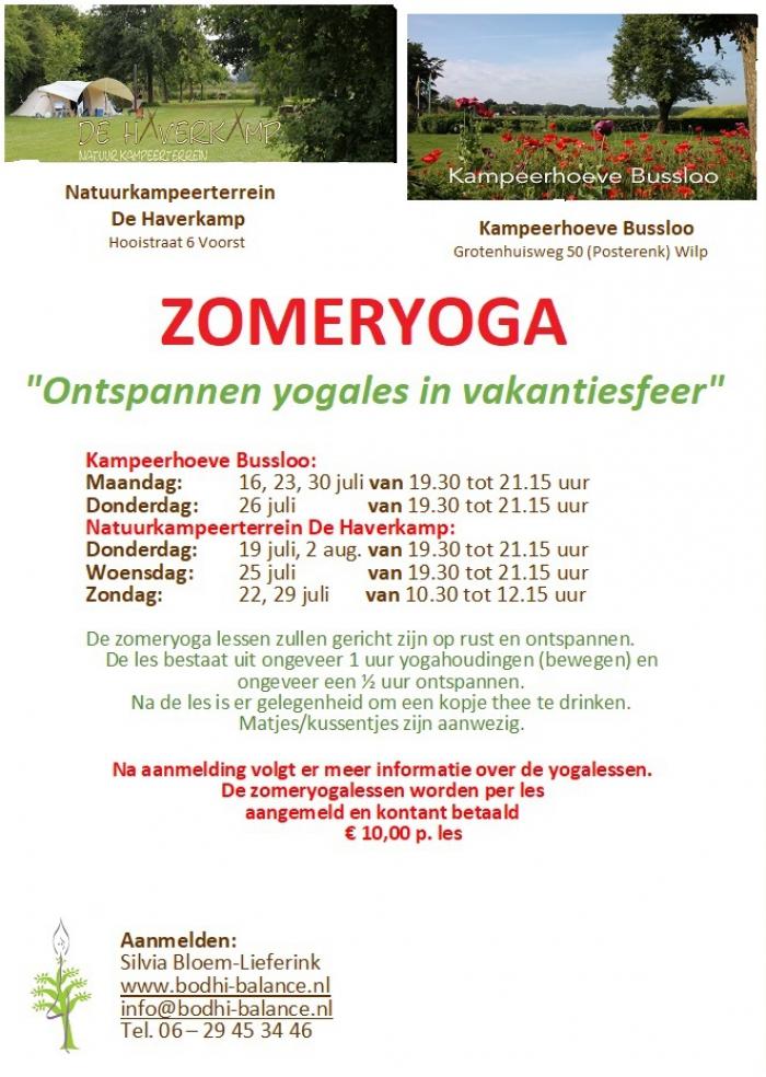 ZOMERYOGA op natuurcamping in Voorst & Bussloo - juli & augustus