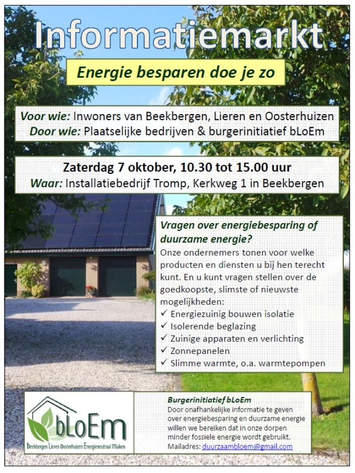 """Informatiemarkt """"energie besparen doe je zo""""."""